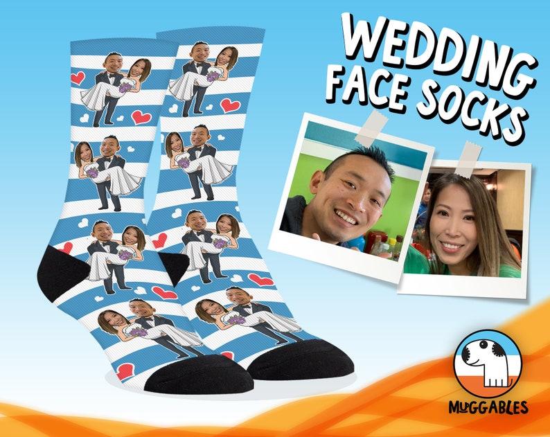 Custom Wedding Gift For Couple Custom Face Socks For Groom image 0