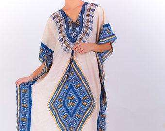 12c4a09fdc847 White Diamond Dress Free One Size Fits All Kaftan Dashiki Indian Dress  Caftan Hippie Tunic Bohemian Sundress Kaftan Beach Cover Up Dark Blue