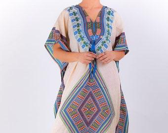9a440fae955ae White Diamond Dress Free One Size Fits All Kaftan Dashiki Indian Dress  Caftan Hippie Tunic Bohemian Sundress Kaftan Beach Cover Up Blue