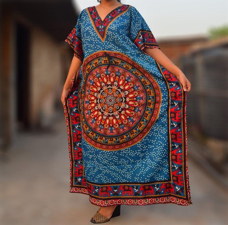 New Women dashiki Dress Kaftan Caftan Poncho Hippie Drawstring Green Free Size