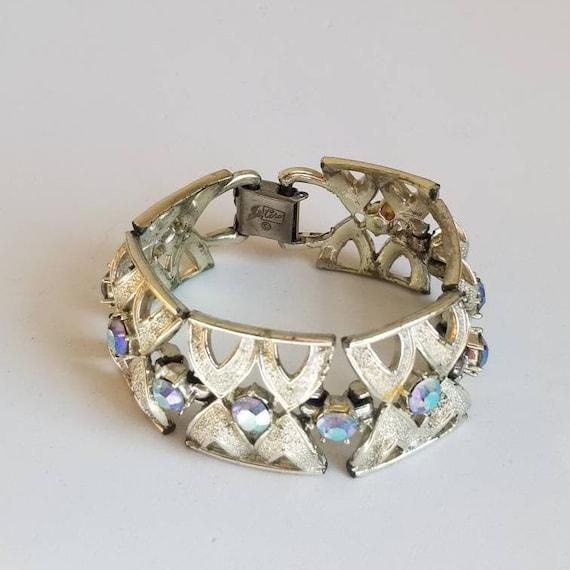 Vintage Coro 1950s Silver Rhinestone Bracelet