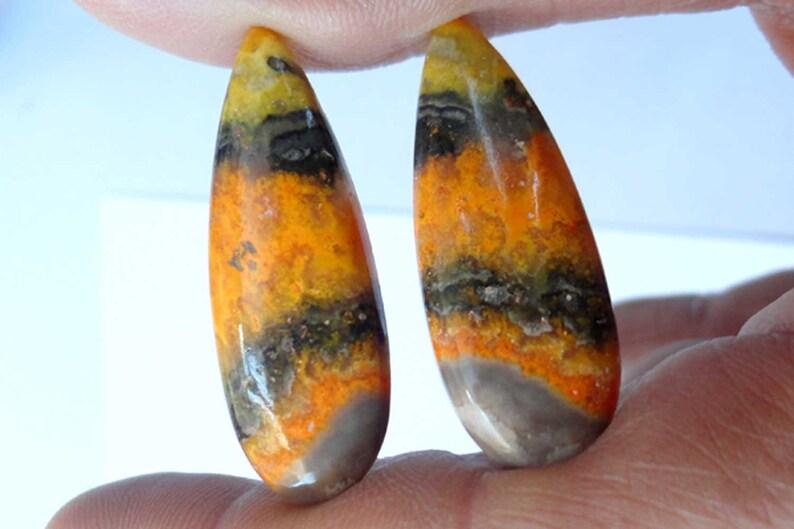 Beautiful Matching Pair AAA Quality Bumble Bee Jasper Cabochon Bumble Bee Jasper Loose Gemstone DIY Jewelry Making Stone Earrings Pair