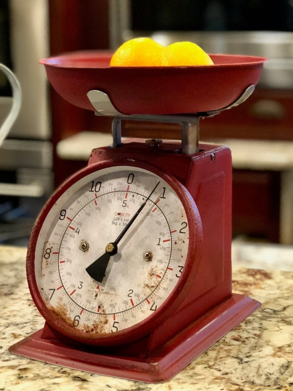 Rustic Red Kitchen Scale Vintage Kitchen Scale Farmhouse Etsy