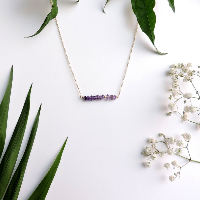 Delicate Choker Necklace Natural Gestone Necklace Silver February Gemstone Crystal Necklaces Layering Necklace Amethyst Bar Necklaces