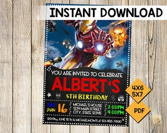 IronMan Invitation Customizable Superhero Printable Birthday Party Invite Iron Man Superheroes Instant Download Editable PDF