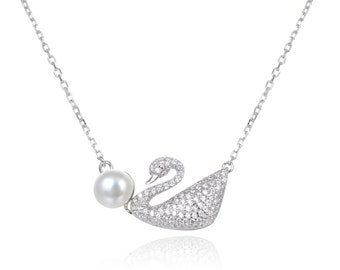 928eab5cb0ee Top Grade Fresh Water Pearl Gemstone Swan Design Pendant Necklace with 925  Sterling Silver and CZ for Women and All Fashion Wear