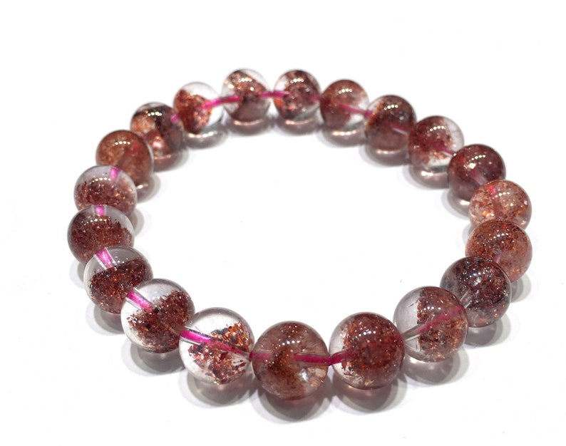 Natural Red Color Phantom Quartz Highly Polished Round Gemstone Loose Bead for Bracelet Jewelry Making and Fashion Design AAAAA Best Quality