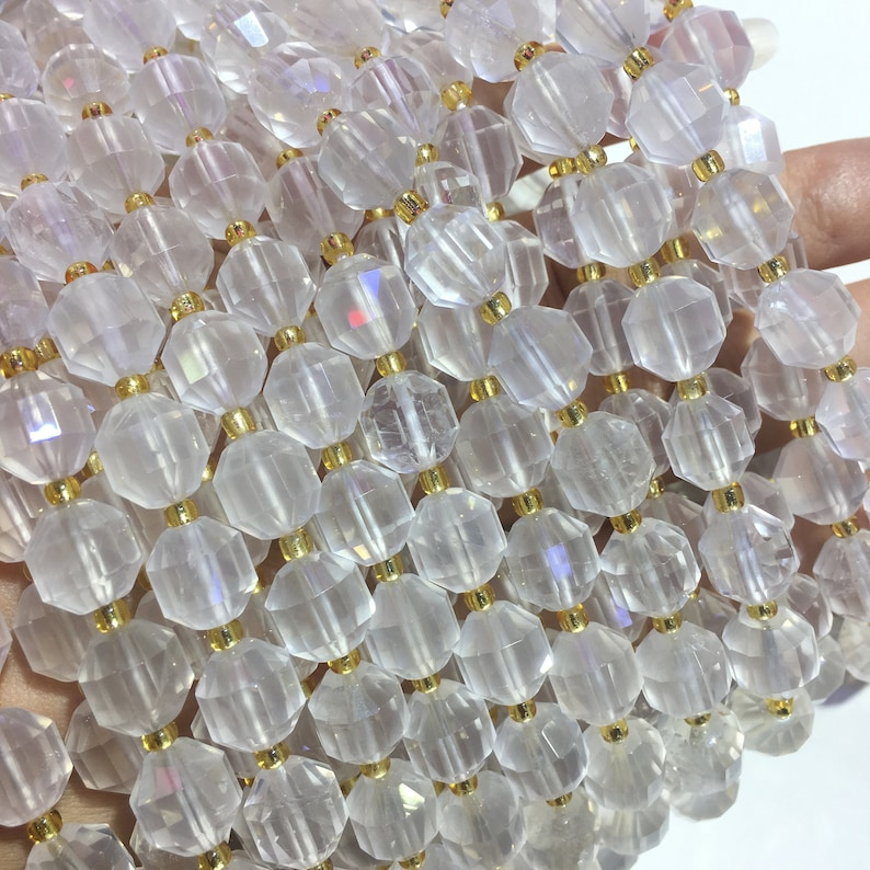 Natural Clear Quartz Faceted Round Nugget Healing /& Energy Balance Gemstone Spacer Loose Beads  for DIY Bracelet or Necklace Jewelry Making