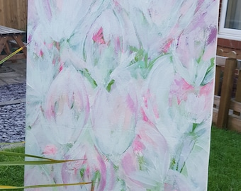 Tulips - Abstract painting on canvas 40 x 100cm