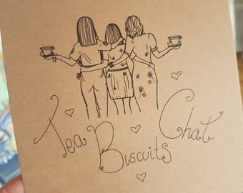 Limited edition figurative print - friends - tea biscuits and chat