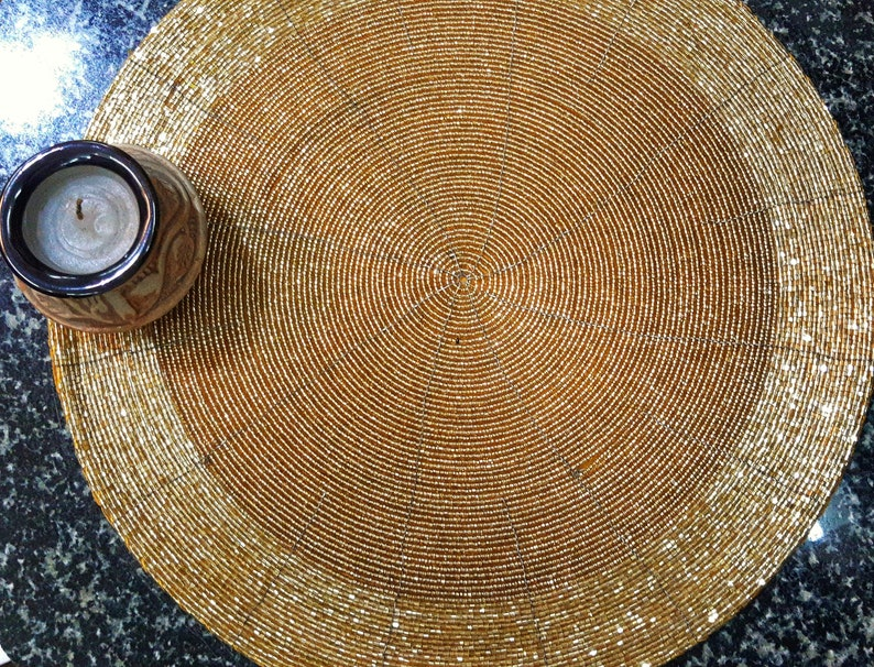 Set of 2 Antique Gold Colored Round Placemats Glass Beaded Wire Placemats