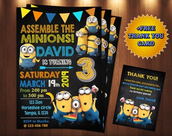 graphic relating to Free Printable Minion Invitations identify Minions invitation Etsy