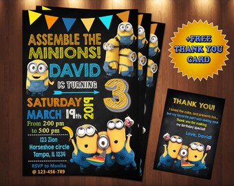 picture regarding Minions Printable Invitations known as Minion invitation Etsy