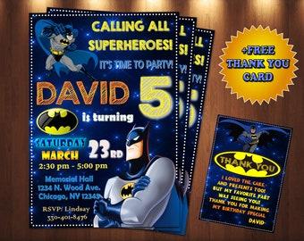 Batman Invitation Birthday Card Invite Party Printable Digital Personalized