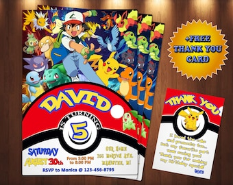 image regarding Printable Pokemon Invitations known as Pokemon invites Etsy