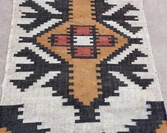 INDIAN COTTON KILIM Brown Rug New 4x6,2x3