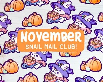 November Snail Mail Club! No Subscription or Commitment needed! Autumn Pastel cute/kawai stickers and print,free shipping!