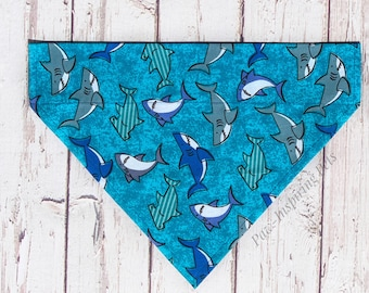 Summer Dog Bandana Reversible Fabric Sharks and Life Preservers in Blues Personalized Dog Scarf
