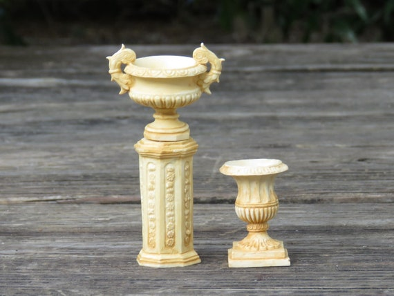 Miniature Dollhouse FAIRY GARDEN Accessories ~ 2 Ivory Ancient Urns w// Pedestals