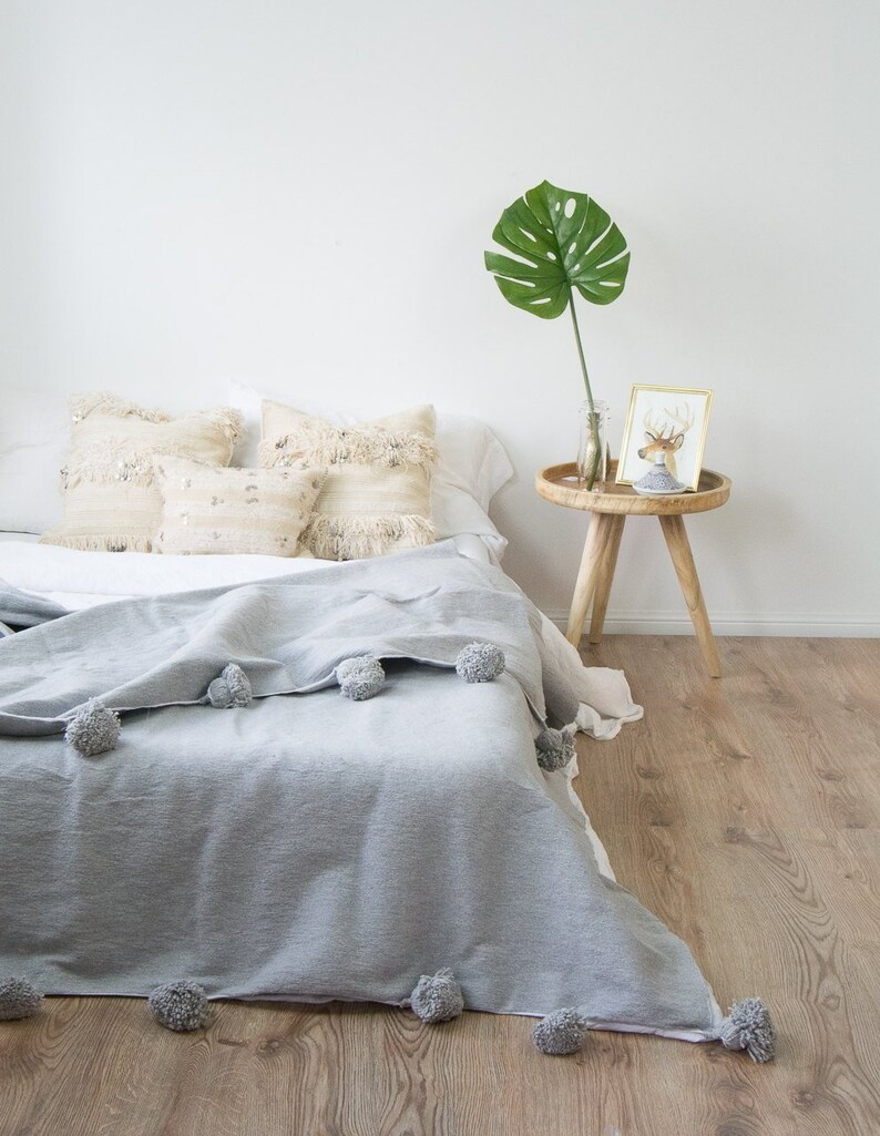 Grey-Gray pom pom blanketMoroccan throws and BlanketsPom pom | Etsy