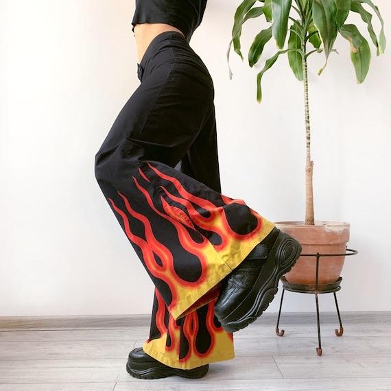 Vintage Phat Pants Flames Print Wide Leg 00s 90s Y