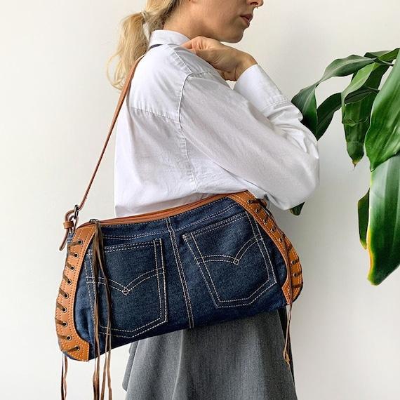 Vintage 00's Y2K Denim Tote Handbag Preppy Shoulde