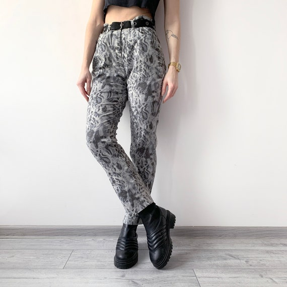 Vintage 90/'s Beige Brown Black Leopard Animal Print High Waist Straight Leg Ankle Jeans Trousers Size 16