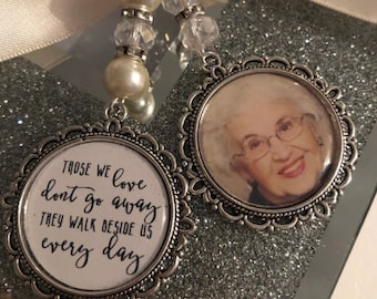 Those we love dont go away they walk beside us every day. loving memory charm locket brooch.Personalised with any photo.bride, wedding.