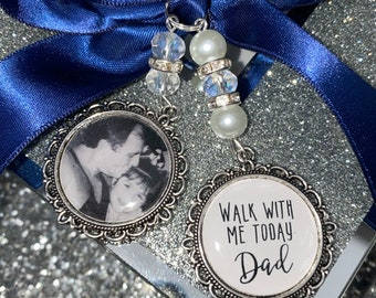 photo placement options Wedding Bouquet Memorial Photo Charm wedding date charm Walk With Me Today Daddy