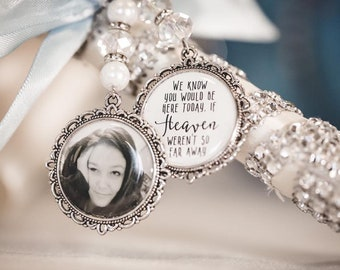 We know you would be here if heaven weren't so far away.Loving memory memorial charm locket brooch.Personalised with any photo.bride,wedding
