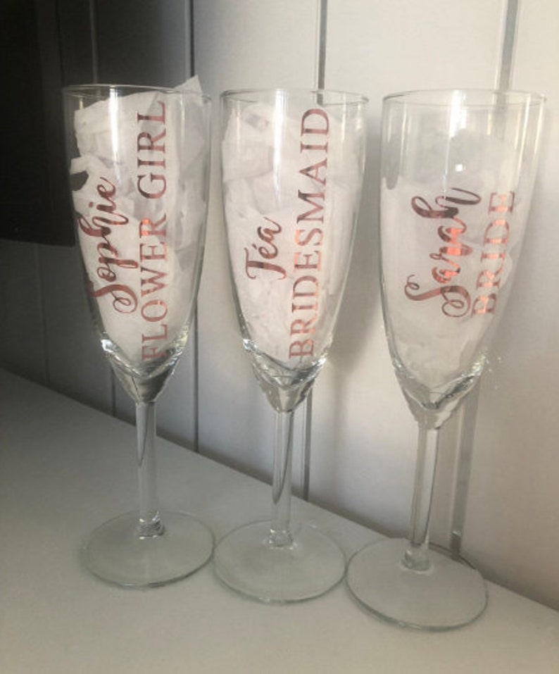 Wedding Vinyl Rose Gold Sticker Champagne Flute Bridesmaid Glass Bride Custom