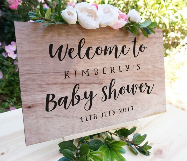 Welcome to baby shower Personalised DIY Sign child/'s name /& date Mirror Plexiglass Vinyl Decal Sticker Hashtag Shower chalkboard