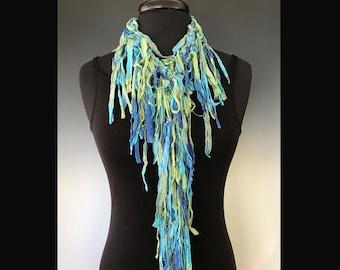 Silk Fringe Scarf, Hand Knit by Gini Steele