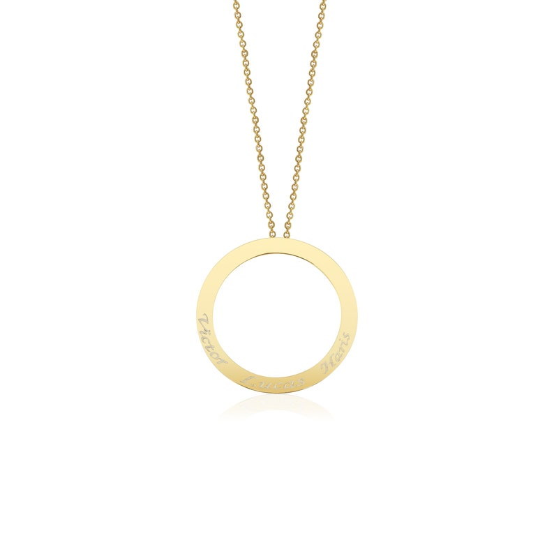 14K Custom Circle Necklace,Linked Circle Necklace,Family Necklace Layering Necklace Children Name Necklace Personalized Eternity Necklace