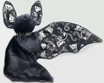 Large Bat Plush Stuffed Animal BeeZeeArt Black 'Skelly Cat' 16in Wingspan