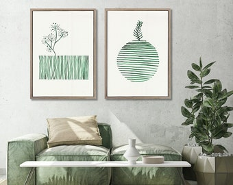 Set of 2 extra large Graphic WALL ART PRINTS | Grounded | Plant prints Wall Art | Abstract Wall Art | Scandinavian style Prints