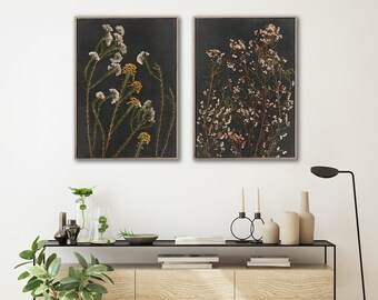 Set of 2 extra large Botanical WALL ART PRINTS | Night Garden 2 | Dark Botanicals | Scandinavian style Prints