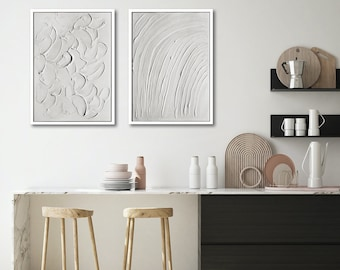 Set of 2 large Abstract WALL ART PRINTS | On White | Minimal Art | Abstract Art | Scandinavian style Prints | Monochrome Art
