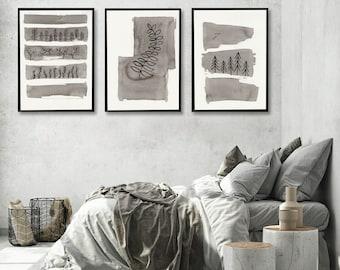 Set of 3 large Graphic WALL ART PRINTS | On Black | Monochrome Wall Art | Abstract Wall Art | Scandinavian style Prints
