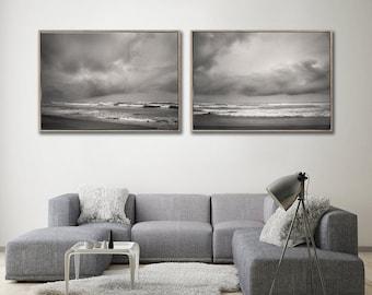 Set of 2x extra Large Seascape WALL ART PRINTS | LandWaterSky set 1 | Beach Wall decor | Scandinavian style Prints | Monochrome Wall Art