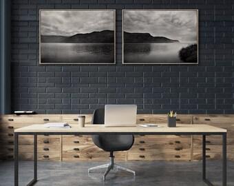 Set of 2x extra Large Seascape WALL ART PRINTS | LandWaterSky set 2 | Beach Wall decor | Scandinavian style Prints | Monochrome Wall Art