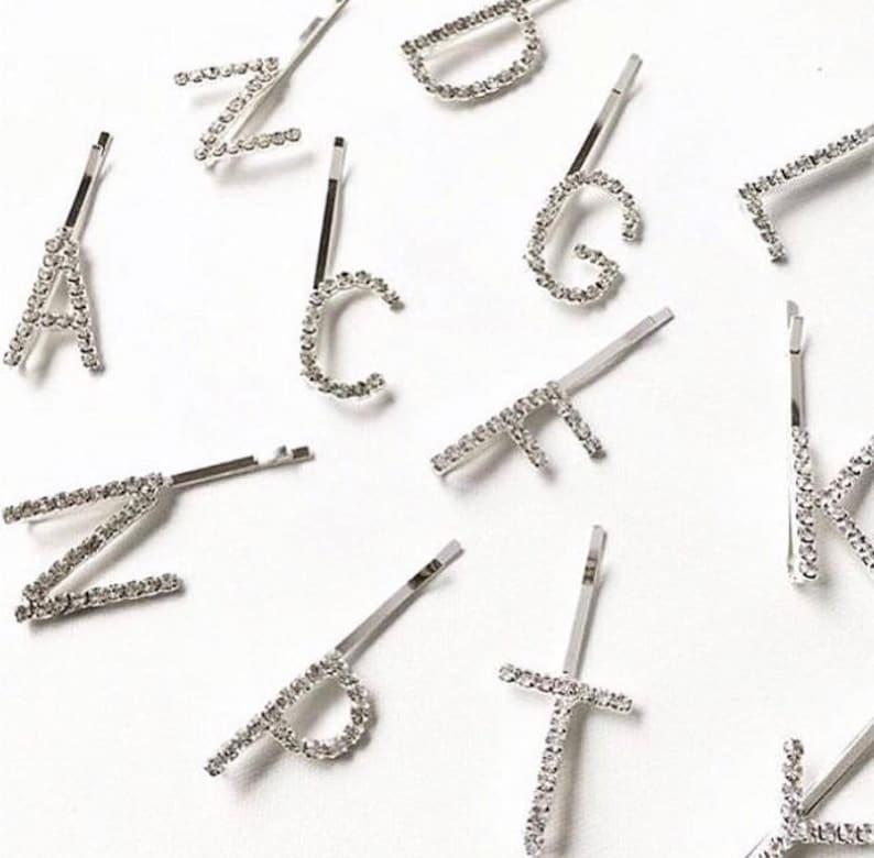 Rhinestone Letter Hair Pins Initial Hair Pins Initial Hair image 0