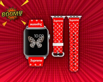 Iwatch Band Strap Inspired By Supreme Apple Watch 38mm 42mm Gift Leather Red 40mm