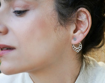 Large wireframe horn silver earrings gift for her bold light weight drop earrings modern square long earrings geometric dangle earrings