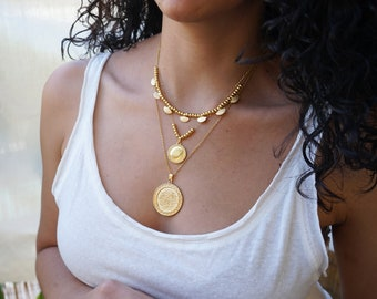 Set of 3 Gold charm necklaces, layered stacking round coin stars jewelry, boho bohemian dainty hippie jewelry, gift for her, gold disc