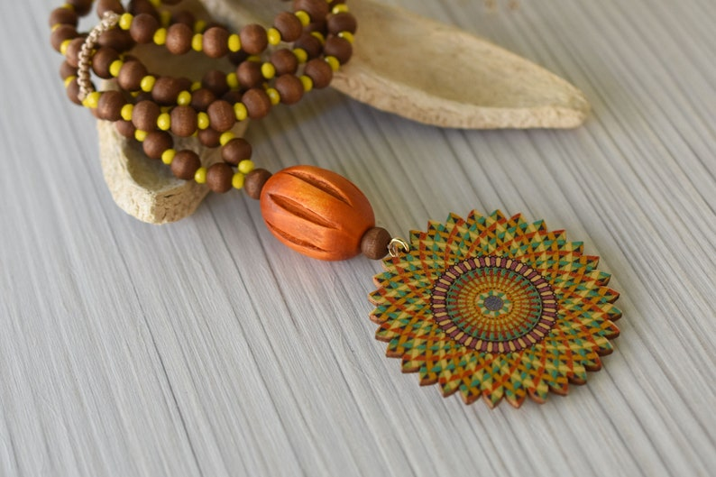 gift summer boho hippie jewelry Rainbow wooden bead flower pendant necklace Long lightweight necklace Authentic Greek beaded necklace