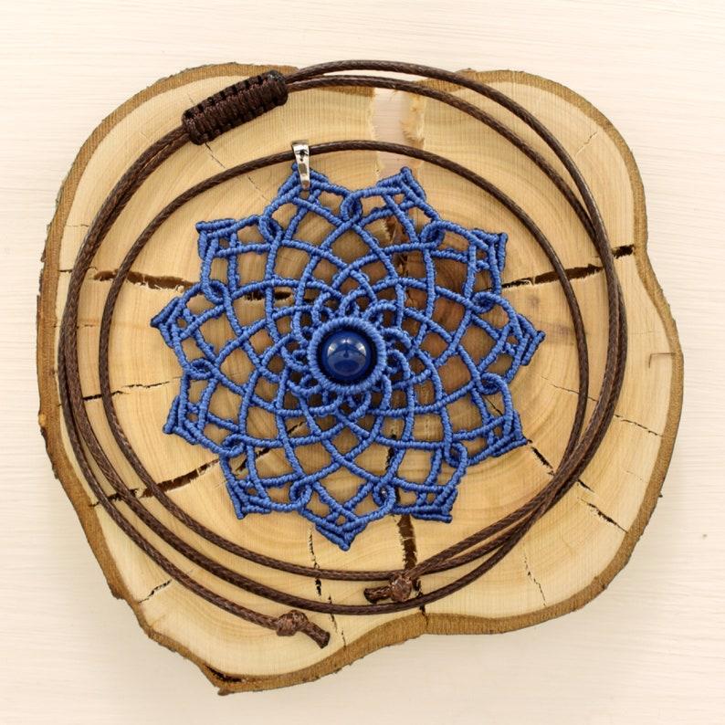 Boho pendant and earrings Blue mandala jewelry set Meditation mandala jewelry Blue bohemian set