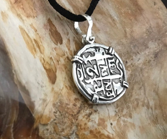Atocha pièce Dauphin Pendentif Plaqué Or sur Argent 925 Sunken Treasure Coin Jewelry