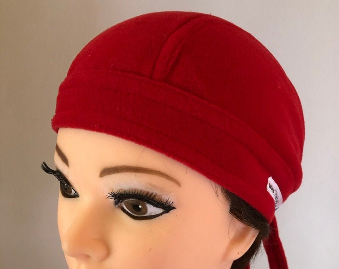 Fleece Red/Dark Blue/Khaky Winter Bandana Cap, Chemo Cap, Cap for Cancer Patients, Surgeon Cap, Chef Cap, Accessories Unique Gifts