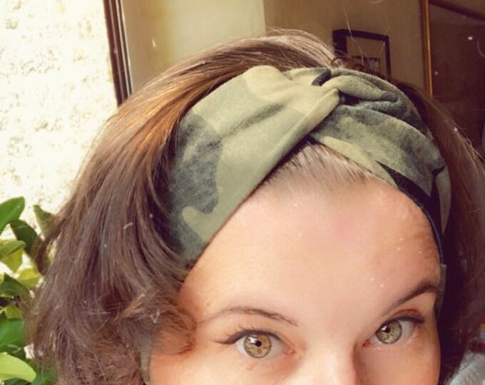 Camouflage Knotted Headband, Turban Headband, Fabric Headband, Sports/Yoga headband, Mother's Day Gift, Women's Gift